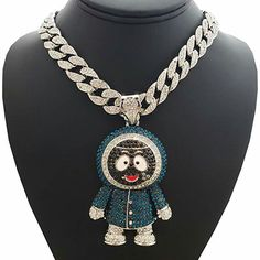 Hip Hop Iced Out Large Brick Squad Eskimo Pendant & 1 Row Tennis Choker Chain Necklace Chokers For Kids, Hip Hop Bling, Long Pendant Necklace, Ice Necklace, Unusual Jewelry, Crystal Choker, Luxury Jewelry, Boyfriend Gifts, Fashion Jewelry