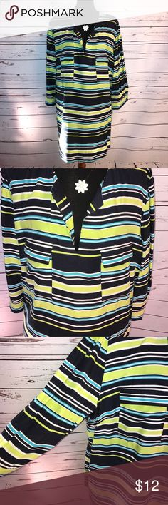 """Cynthia Rowley Top Size 2X Cute lightweight 3/4"""" sleeve green Navy blue white striped top by Cynthia Rowley. Size 2X chest measures 25"""" and is 31"""" long. I don't know why but this top screams boating to me. 🌼❤️😊🐾 Cynthia Rowley Tops Blouses"""
