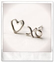Love and XO Stud Earring  (silver or gold)