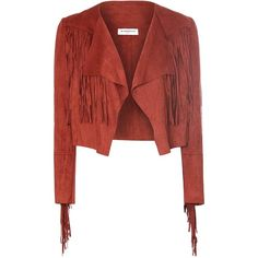 Rust Suedette Cropped Fringed Jacket AS WORN BY DAISY LOWE ($36) ❤ liked on Polyvore featuring outerwear, jackets, red, boyfriend jacket, long sleeve crop jacket, cropped jacket, fringe jacket and long sleeve jacket