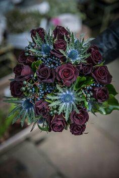 "{Stunning Wedding Bouquet Arranged With: Blue Eryngium Thistle, Dark Blue Privet Berries, Black ""Baccara"" Roses, & Dark Green Berries & Foliage}"