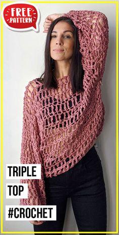 Tunic Pattern, Top Pattern, Free Pattern, Crochet Tops, Free Crochet, Knit Crochet, Crochet Ideas, Crochet Projects, Crochet Patterns