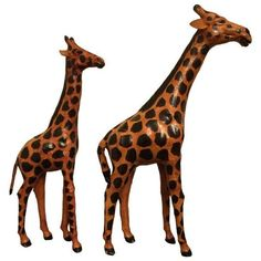 Hand-Painted Leather Giraffes ($120) ❤ liked on Polyvore featuring home, home decor, decor, african statues, african home decor, leather home decor, handmade home decor and giraffe home decor