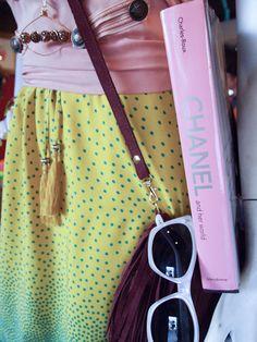 Chanel, polka dots, pink, sunnies, fringe