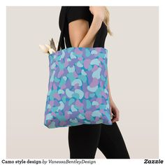 Shop Camo style design tote bag created by VanessaBentleyDesign. Camo Fashion, Edge Design, Reusable Tote Bags, Sewing, How To Make, Fashion Design, Style, Swag, Dressmaking