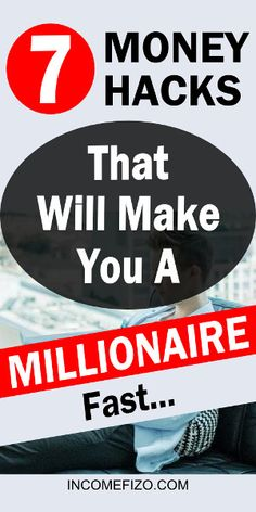 Is it possible to become a millionaire in the next 10 or 15 years? It is - but with the right financial planing. These 7 genius ideas that will increase your net worth and make you a millionaire fast Money Tips, Money Saving Tips, Win Money, Money Hacks, Make Money Fast, Make Money From Home, Fast Cash, Earn Money Online, Online Jobs