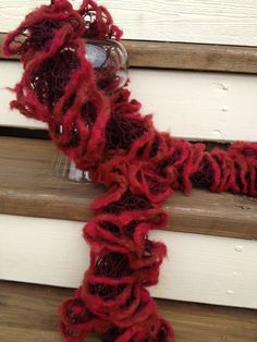 Red Ruffle Fashion Scarf  with Wool Trim by AStitchNiche on Etsy, $30.00
