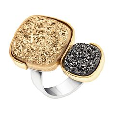 A grey and gold Druzy statement/cocktail ring in both 9kt gold and silver #druzy #druzy ring #statement ring #druzy jewellery #drusy jewelry #druzy stone #gold druzy #grey druzy #druzy cocktail ring #large druzy ring #druzy jewelry Druzy Jewelry, Druzy Ring, Gold Jewellery, Gemstone Rings, Gold Statement Earrings, Statement Jewelry, Silver Headband, Christmas Gifts For Women, Bangle Set