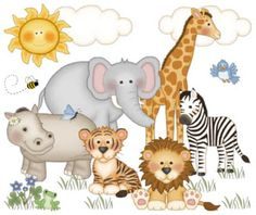 "Jungle Zoo Animals Wall Mural Decals for Baby Nursery and Kids Room Decor measures 24.75"" Tall and 29.25"" Wide. #decampstudios http://decampstudios.blogspot.com/"