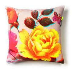 Flowers & Butterflies Cushion by Rana Salam for Shop with global insured delivery at Pamono. Butterfly Cushion, Royal College Of Art, Velvet Cushions, Cotton Velvet, Op Art, Home Textile, Vintage Images, Yellow Flowers, Bold Colors