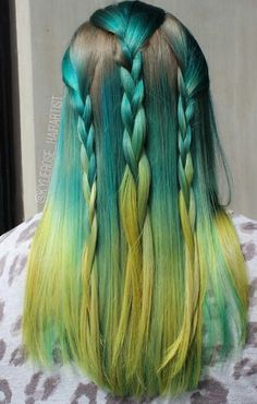 Yellow Teal turquoise dyed hair color