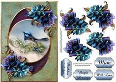 Centre Circle - Blue Bird & Blue Roses