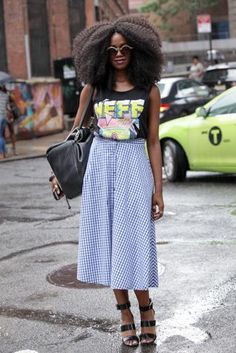 Tiffany Pierce, silk tank top and blue plaid skirt, afro natural hair, curly hair, street style