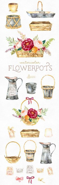 This Watercolor Flowerpots set of hand painted watercolor images. Perfect graphic for diy projects, wedding invitations, greeting cards, photos, posters, quotes and more. ----------------------------------------------------------------- INSTANT DOWNLOAD Once payment is cleared, you can