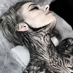 Freehand Full Body Tattoo Tattoos And Body Art full body tattoo Finger Tattoos, Body Art Tattoos, Girl Tattoos, Tattoos For Women, Dream Tattoos, Badass Tattoos, Full Neck Tattoos, Full Tattoo, Black Tattoos