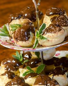 Karen Edwards' photograph of my chocolate profiteroles clearly illustrates how tasty these little chocolate delights are. I would have a chocolate profiterole every day of my life; Profiteroles, Eclairs, Fresh Cream, Fresh Mint, Melt Method, Chocolate Delight, Choux Pastry, Whole Eggs, Cake Flour
