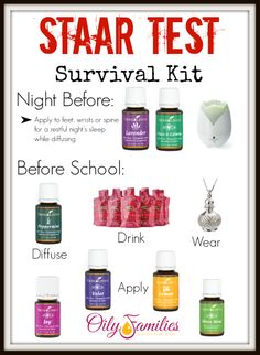 Oily ideas for state test days, for kids and teachers alike. Nearly all these products are found in Young Living's Premium Starter Kit!