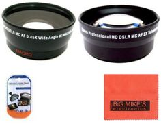 52mm 2X Telephoto Lens   52mm 0.43x Wide Angle Lens with marco for Canon Digital EOS Rebel SL1, T1i, T2i, T3, T3i, T4i, T5, T5i EOS60D, EOS70D, 50D, 40D, 30D, EOS 5D, EOS5D Mark III, EOS6D, EOS7D, EOS7D Mark II, EOS-M Digital SLR Cameras Which Has Any Of These Canon Lenses 50mm f/1.8 II, 135mm f/2.8, EF 50mm f/2.5, EF-S 60mm f/2.8, EF-S 24mm f/2.8 STM >>> For more information, visit image link.