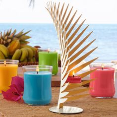 Teelichthalter Goldene Palme von PartyLite, Metall mit goldfarbenem Innendekor. H: 26 cm. Für Teelichter