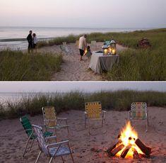 18 New Ideas For Wedding Reception Beach Night Lakeside Wedding, Wedding Reception, Destination Wedding, Lake Michigan Wedding, Garden City Beach, Beach Night, Beach Bonfire, Outdoor Pictures, S'mores Bar