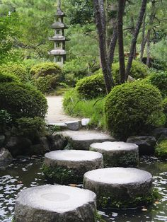 Stepping Stones… The structure seen here is a quintessentially Japanese design. It instantly brings forth Japanese influence to your garden. The nice use of space also lets the design breathe in the environment. Japanese Garden Backyard, Japanese Water Gardens, Japanese Garden Landscape, Asian Landscape, Japan Garden, Japanese Garden Design, Japanese Style, Bamboo Garden, Garden Beds