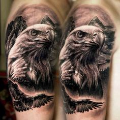 Eagle Tattoos - Cool Tattoos For Men: Best Tattoo Ideas, Top Designs For Guys Eagle Tattoo Forearm, Eagle Chest Tattoo, Bald Eagle Tattoos, Head Tattoos, Body Art Tattoos, Sleeve Tattoos, Wing Tattoos, Tribal Shoulder Tattoos, Mens Shoulder Tattoo