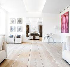 Wood Floor Lamp Ideas, Laminate Flooring And Paint Ideas and Pics of Modern Living Room Hardwood Floors. Modern Wood Floors, Living Room Hardwood Floors, Maple Hardwood Floors, Types Of Wood Flooring, Hardwood Floor Colors, White Wood Floors, Oak Laminate Flooring, Wide Plank Flooring, Pine Floors