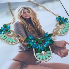 Stunning Turquoise Chain Link Statement Necklace New without tags. 8 S Rosebud Fashions Jewelry Necklaces