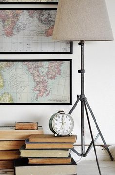 lamp, old maps & books