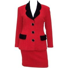 Preowned Classy C.1990 Karl Lagerfeld Red Wool Suit With Black Velvet... ($550) ❤ liked on Polyvore featuring suits, red and skirt suits