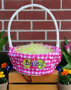 Personalized easter basket liners for girls or boys 5 colors to personalized easter basket liners for girls or boys 5 colors to choose negle Images