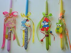 Πασχαλινές χειροποίητες λαμπάδες για παιδιά με διάφορα διακοσμητικά (η κουκουβάγια στην τελευταία είναι χειροποίητη, φτιαγμένη από τσόχα).