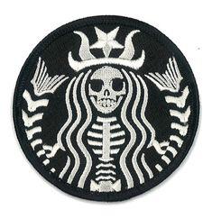 Starbucks Coffee Dead Barista Embroidered Patch ZOMBIE Skeleton Skull Horror Dia De Los Muertos Badge Applique