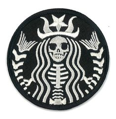 Starbucks Coffee Dead Barista Embroidered Patch ZOMBIE Skeleton Skull Horror Dia De Los Muertos Badge Applique on Etsy, $9.95