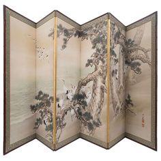 Exquisite Late Century Japanese Six Fold Screen Japanese Screen, Japanese Art, Art Furniture, Painted Furniture, Mirror Room Divider, Dressing Screen, Antique Interior, Screen Design, Oriental