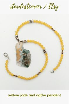 Yellow Jade Necklace and Natural Agate Pendent Jade Necklace, Pearl White, Brown And Grey, Agate, Handmade Jewelry, Stones, Hair Accessories, Jewellery, Pearls