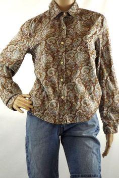 Gap Women's Sz S Brown Floral Blouse Button Front Long Sleeve Roll Tabs Cotton #GAP #Blouse #Casual