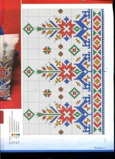 Discover thousands of images about Motif Border Embroidery, Folk Embroidery, Knitting Charts, Knitting Patterns Free, Cross Stitch Borders, Cross Stitch Patterns, Bargello, Le Point, Photo Craft