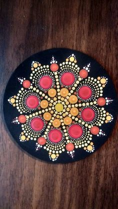 Wooden Round hand painted mandala magnet. 4 inches