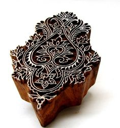 Ornate Textile Block Printing Stamp Hand Carved Indian Wooden Block