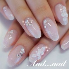 Beautiful nail art designs that are just too cute to resist. It's time to try out something new with your nail art. 3d Nail Art, Nail Art Hacks, 3d Nails, Nail Arts, Pastel Nails, Nail Nail, Acrylic Nails, Simple Wedding Nails, Wedding Nails Design