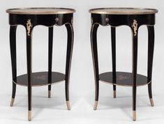 Pair of French Louis XV style (late 19th/early 20th Cent) oval black & gilt painted Chinoiserie decorated end tables with undertier & frieze drawer Price $9,500.00