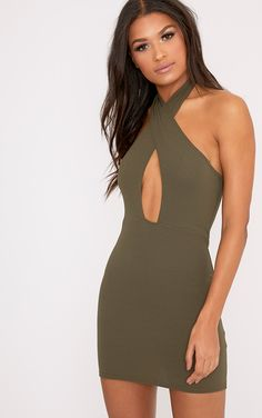 Wendina Khaki Cross Front Crepe Bodycon Dress