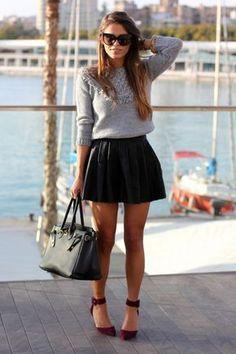 #SheInside Black PU Leather Pleated Short Skirt - Sheinside.com Más