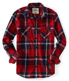 Long Sleeve Patch Plaid Woven Shirt - Aeropostale