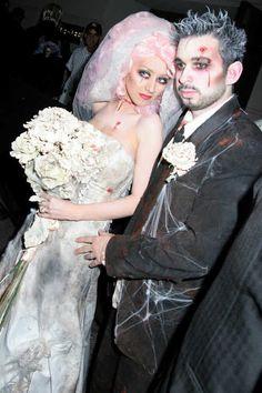 Christina Aguilera and Jordan Bratman as Zombie Bride and Groom