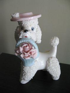 VINTAGE NAPCO FIGURINE Poodle JAPAN UNIQUE PORCELAIN ROSES