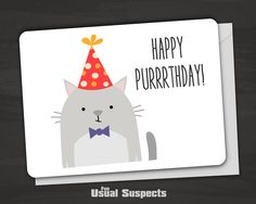 """Outside reads """"Happy Purrrthday!"""" Blank inside. Fun Usual Suspects cards are carefully printed on thick, high-quality card stock and have rounded corners for a clean but soft look and feel. The card s"""