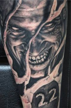 Demon 3D black and white tattoo #Tattoo, #Tattooed, #Tattoos