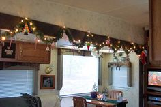 Some garland over the slide-out in Barb Durham's RV.